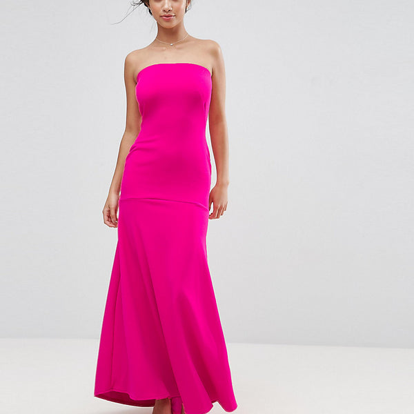 John Zack Petite Bandeau Fishtail Maxi Dress - Hot pink