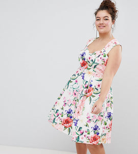 Paper Dolls Plus Sweetheart Floral Printed Prom Dress - Multi