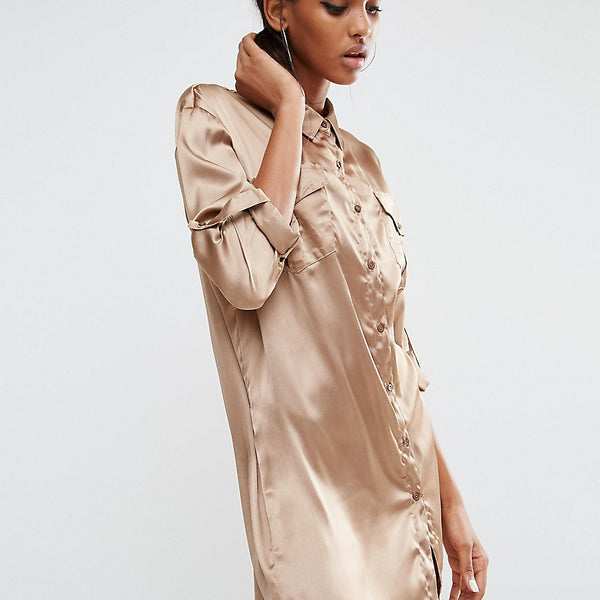 Daisy Street Tall Oversized Shirt Dress With Patchwork Pocket - Gold