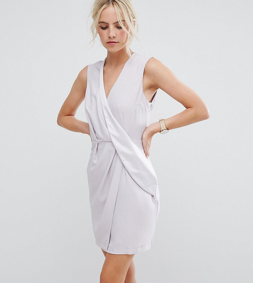 ASOS PETITE Drape Front Mini Tux Dress - Light grey