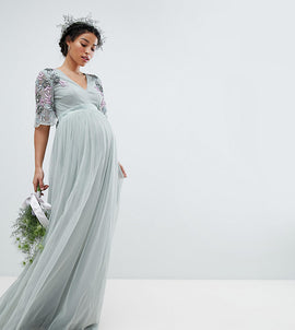 Maya Maternity Embellished Tulle Sleeve Maxi Tulle Dress - Green lily