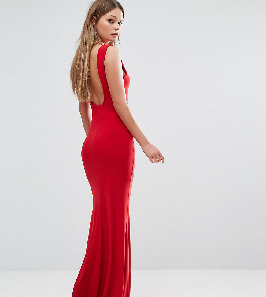 Club L Deep Plunge Back Maxi Dress - Red