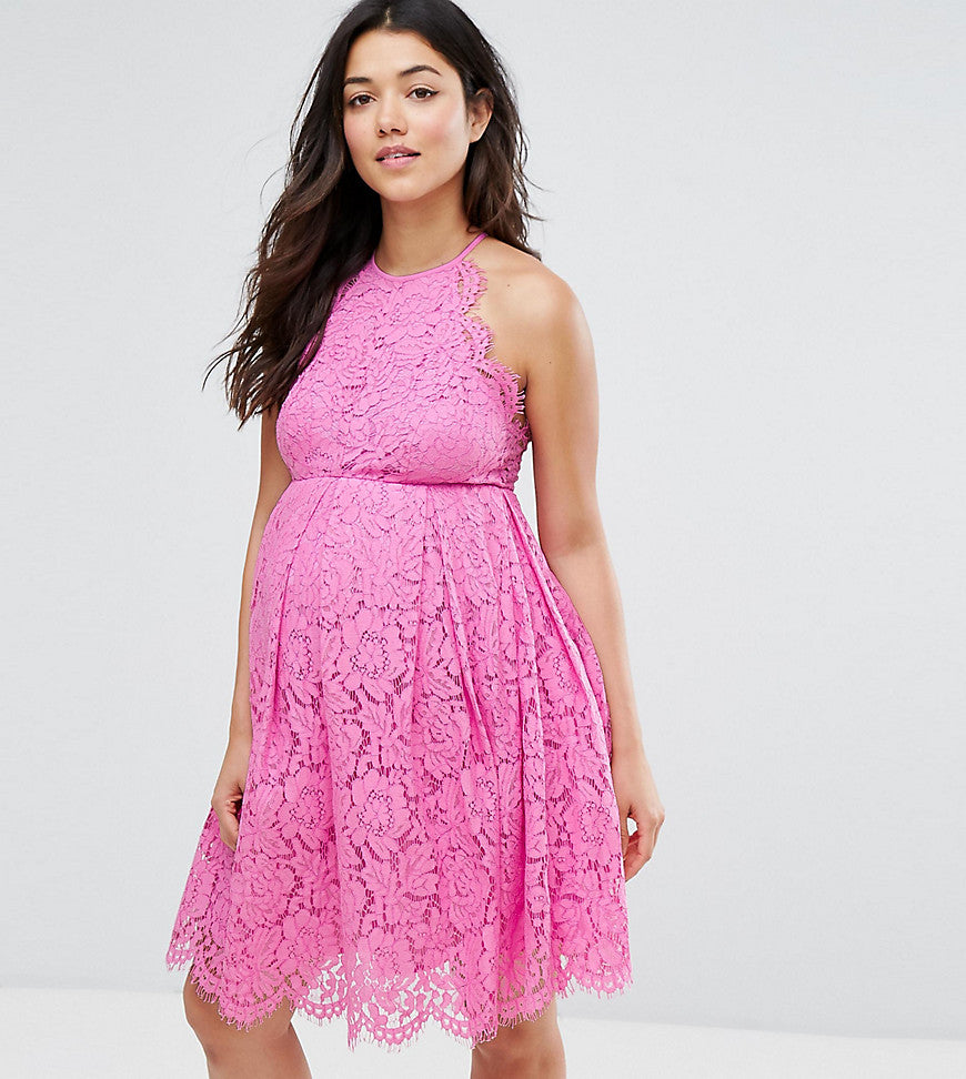ASOS Maternity Lace Pinny Scallop Edge Prom Mini Dress - Pink
