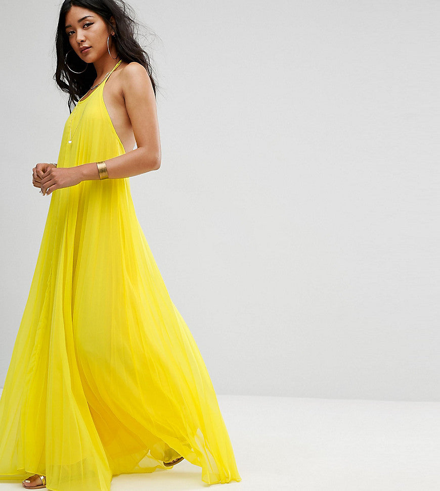 Missguided Pleated Maxi Dress - Yellow