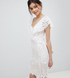 City Goddess Tall Lace Pencil Dress With Frill Overlay - White