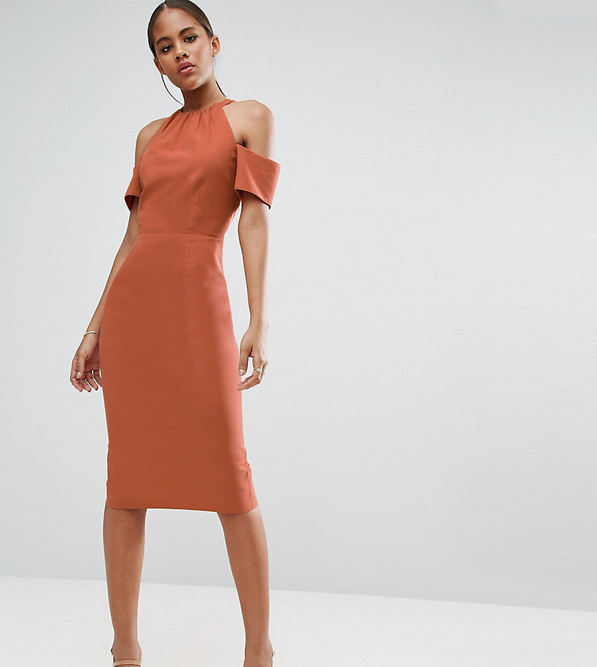 ASOS TALL Pencil Dress in Natural Fibre - Rust