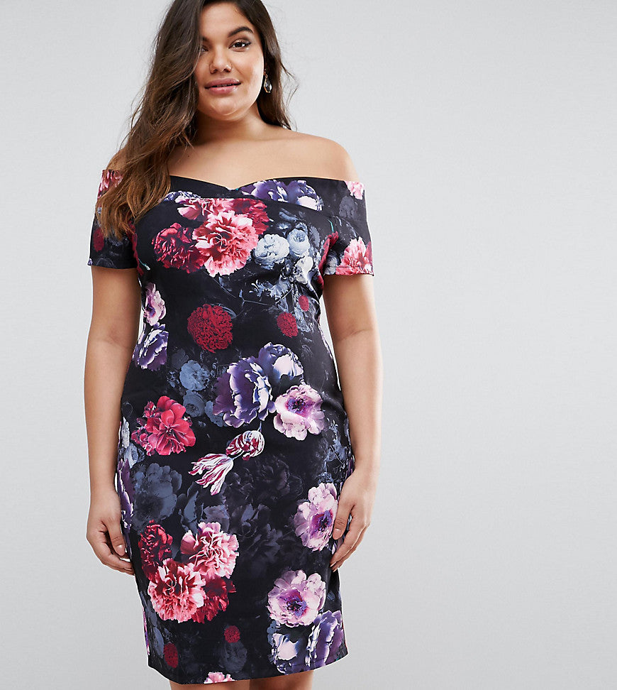 Paper Dolls Plus Floral Bardot Dress - Multi