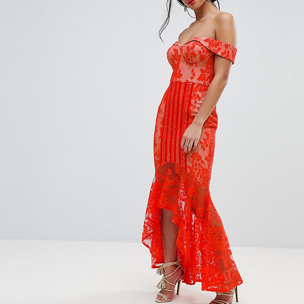 Jarlo Petite All Over Lace Off Shoulder Fishtail Midi Dress - Tomato orange