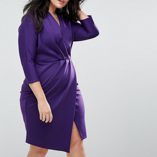 Closet Plus Wrap Front Pleated Pencil Dress - Purple