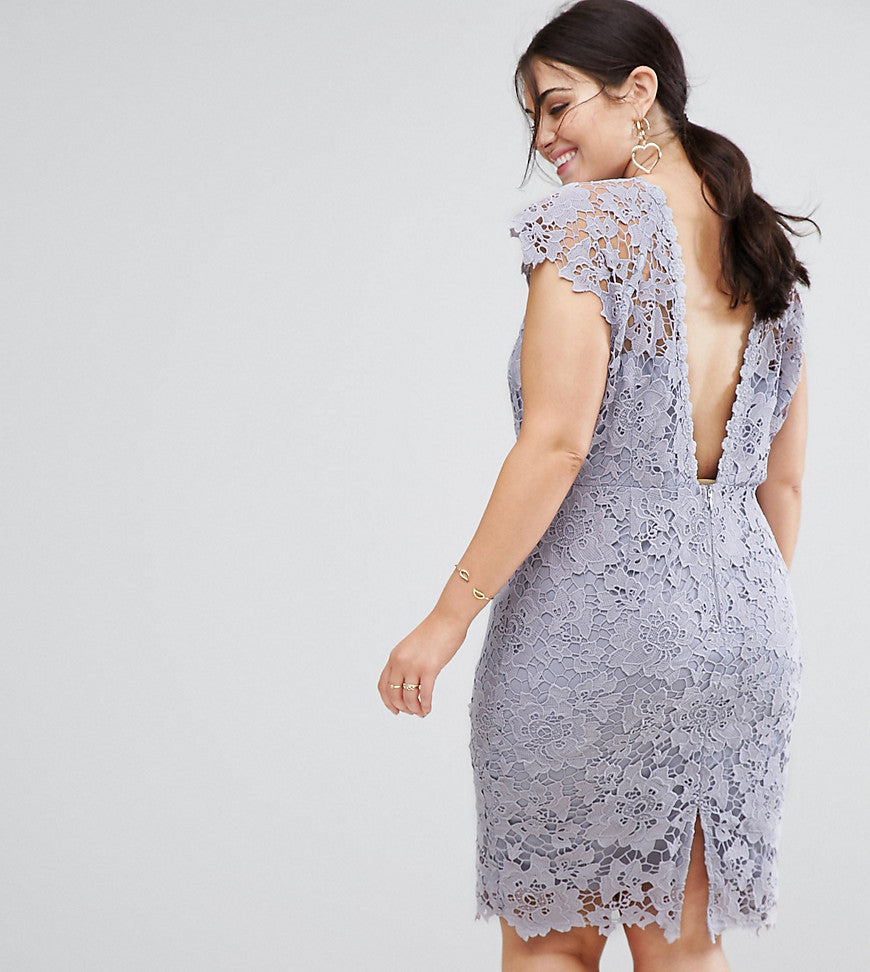 Paper Dolls Plus Midi Lace Dress with Scalloped Back - Oyster grey