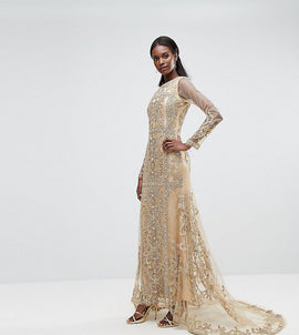A Star Is Born Maxi Dress With Panelled Embroidered Embellishment - Gold