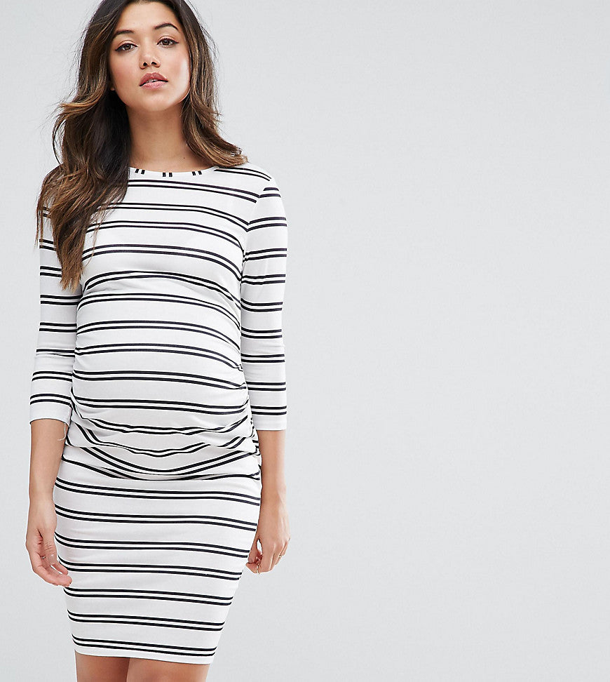 ASOS Maternity TALL Twin Stripe Bodycon Dress - White/ black