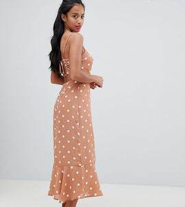 Fashion Union Petite Tie Back Maxi Dress In Vintage Spot - Apricot spot