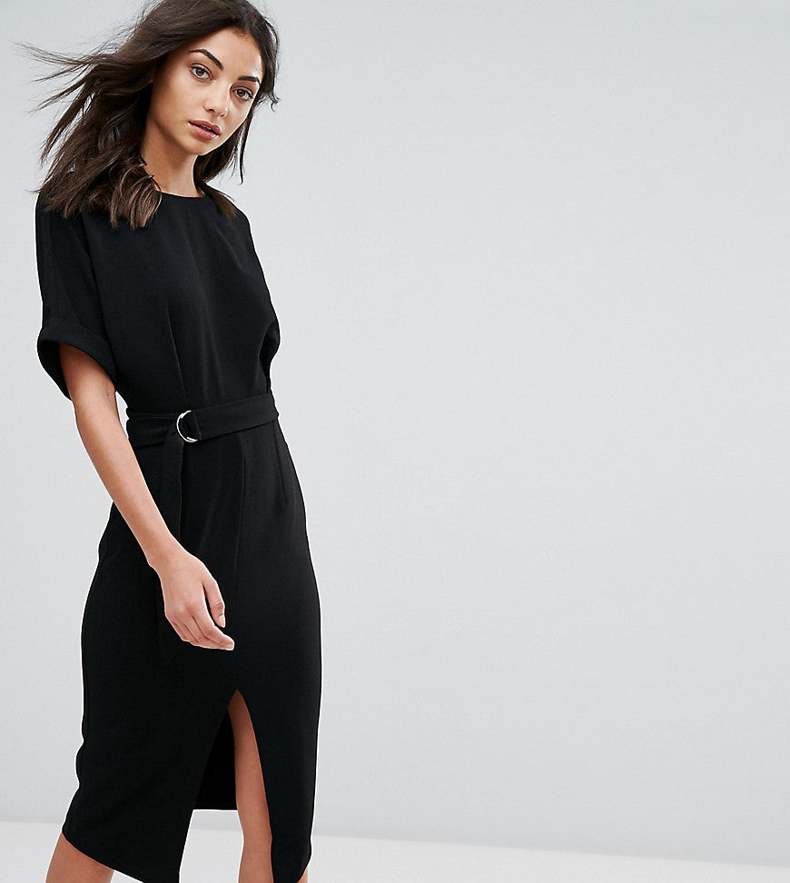 ASOS TALL Smart Woven Midi Dress with D-Ring - Black