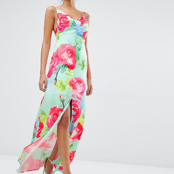 Every Cloud Rose Print Strappy Maxi Dress - Multi print