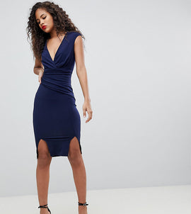 Flounce London Tall Wrap Front Bodycon Midi Dress with Double Splits - Navy