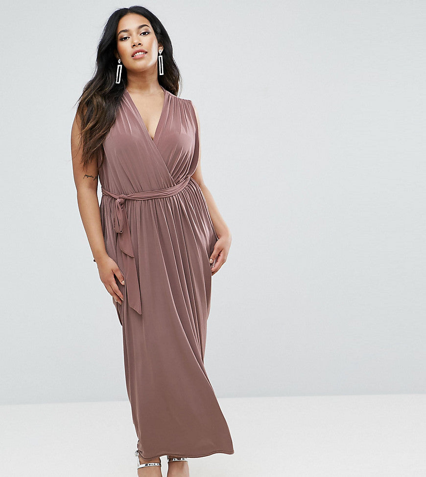 Club L Plus Waterfall Drape Detail Maxi Dress - Taupe