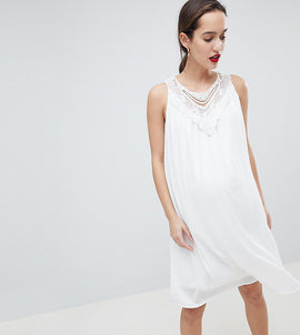 Mamalicous Sleeveless Lace Insert Woven Dress - White