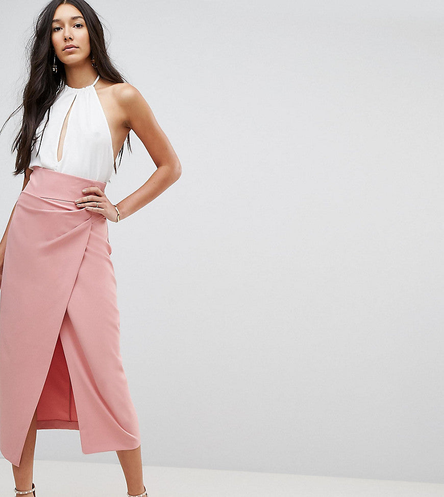 ASOS TALL Tailored Midaxi Skirt with Rouched Pleat Detail - Pink