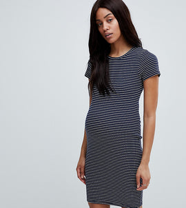 New Look Maternity Stripe Rib Jersey Bodycon Dress - Blue pattern