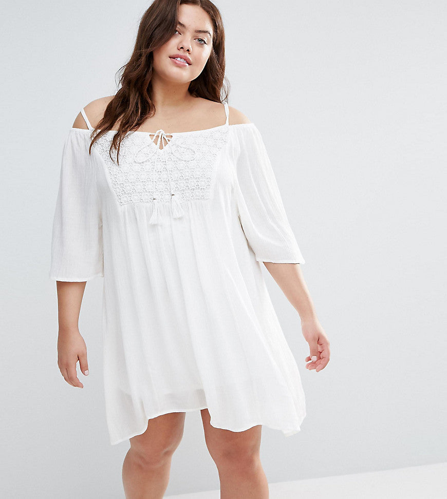 Diya Plus Cold Shoulder Dress With Crochet Insert - White