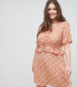 Fashion Union Plus Tea Dress In Vintage Spot - Apricot spot