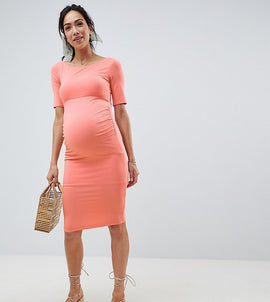 ASOS DESIGN Maternity bardot dress with half sleeve - Papaya