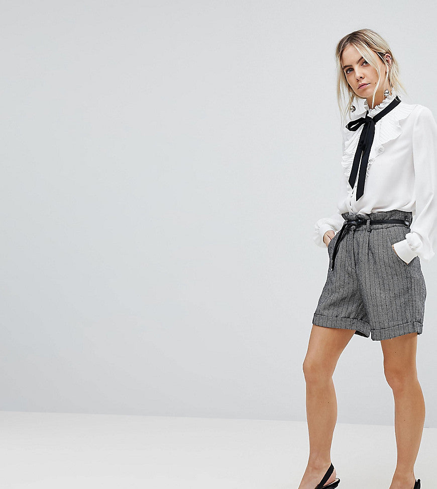 Lost Ink Petite High Waist City Shorts With Belt Tie - Grey