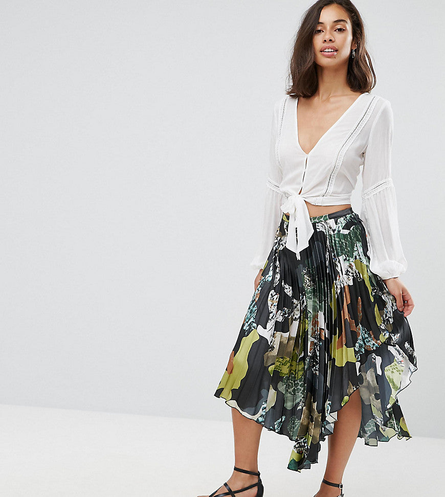 ASOS PETITE Satin Pleated Midi Skirt in Camo Print - Multi