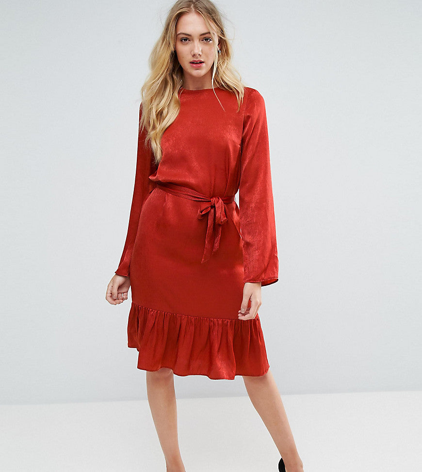 Y.A.S Tall Satin Tie Waist Ruffle Hem Dress - Red