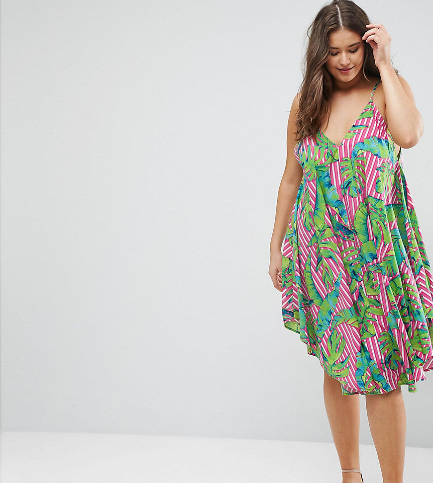 ASOS CURVE Cami Beach Dress in Bright Tropical Print - Multi