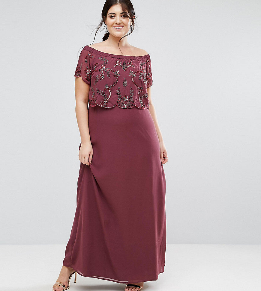 Lovedrobe Luxe Bardot Embellished Maxi Dress - Purple