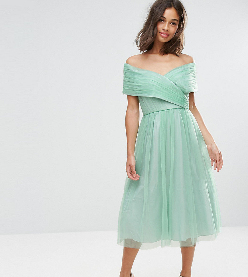 ASOS PETITE WEDDING Tulle Midi Dress - Mint