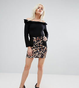 ASOS PETITE Mini Skirt with Side Rib Detail in Animal Print - Multi