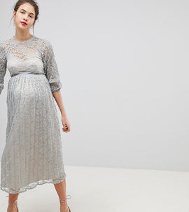 Little Mistress Maternity All Over Lace Maxi Dress With Bell Sleeve Detail - Waterlily