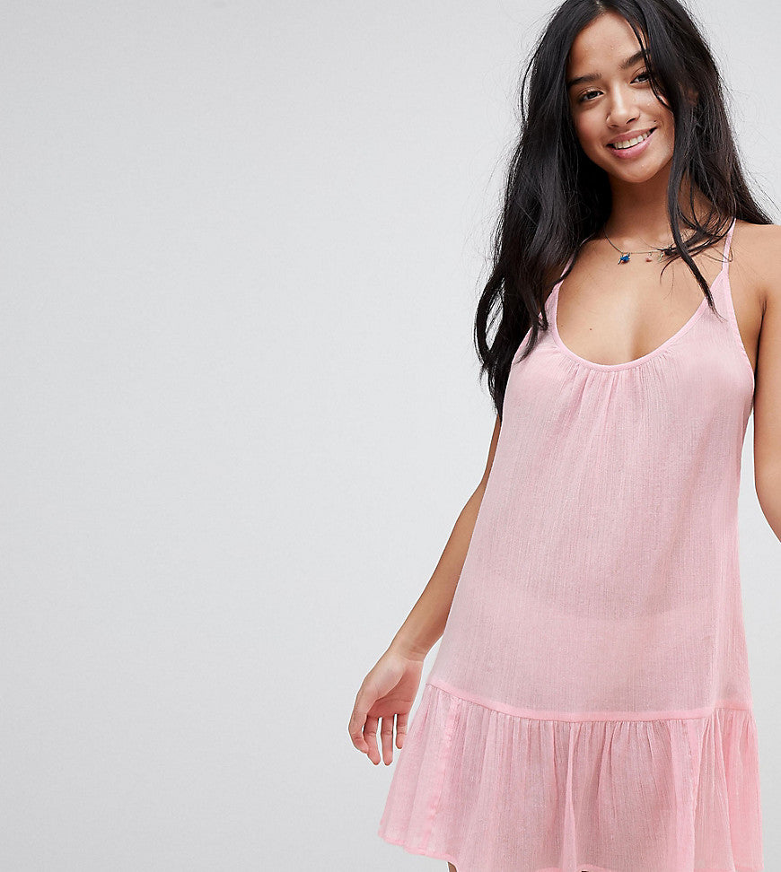 ASOS PETITE T Back Tiered Beach Sundress - Pink