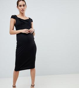 ASOS DESIGN Maternity bodycon dress with double bardot strap - Black