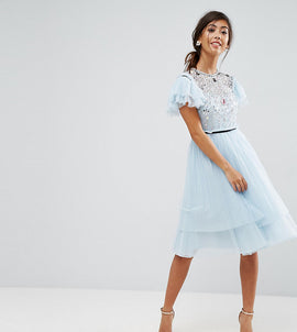 ASOS PETITE Pretty Embellished Tulle Mini Dress - Blue