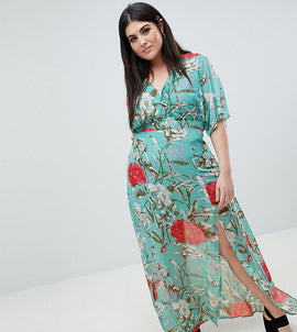 Missguided Plus Floral Maxi Dress - Multi