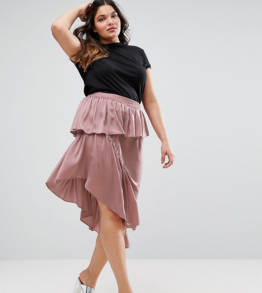ASOS CURVE Deconstructed Midi Skirt in Satin - Mauve