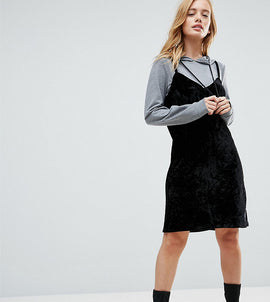 Noisy May Petite 2 In 1 Sweat Velvet Dress With Hood - Grey / black