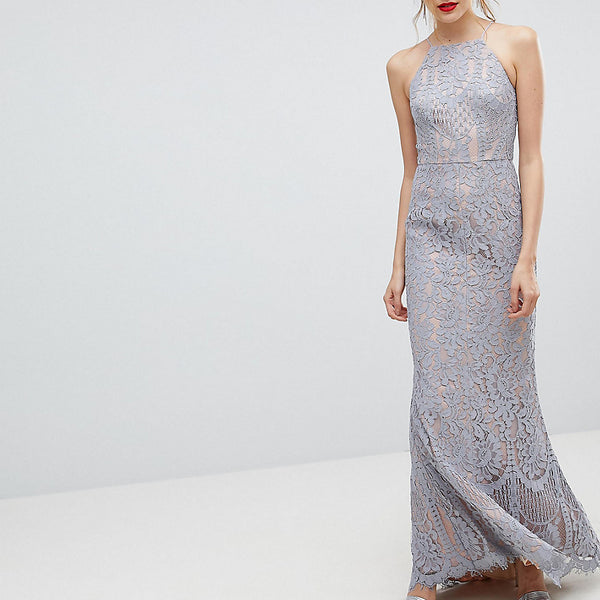 Jarlo Tall All Over Lace Off High Neck Maxi Dress - Soft grey