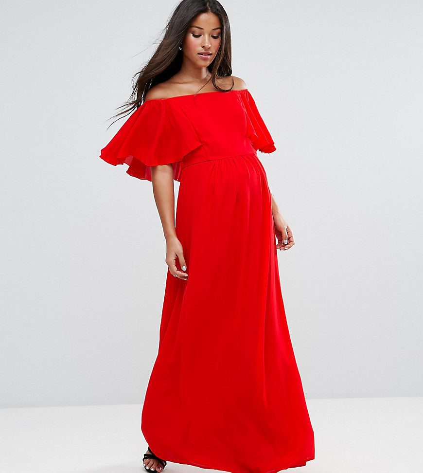 Queen Bee Maternity Off Shoulder Ruffle Maxi Dress - Red