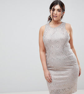 Coast Plus Metallic Shift Dress - Rose gold