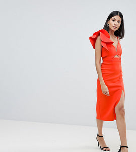 ASOS DESIGN Tall frill one shoulder scuba bodycon dress with midriff - Red