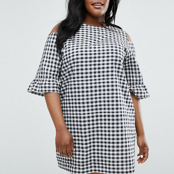 Daisy Street Plus Cold Shoulder Gingham Shift Dress - Multi