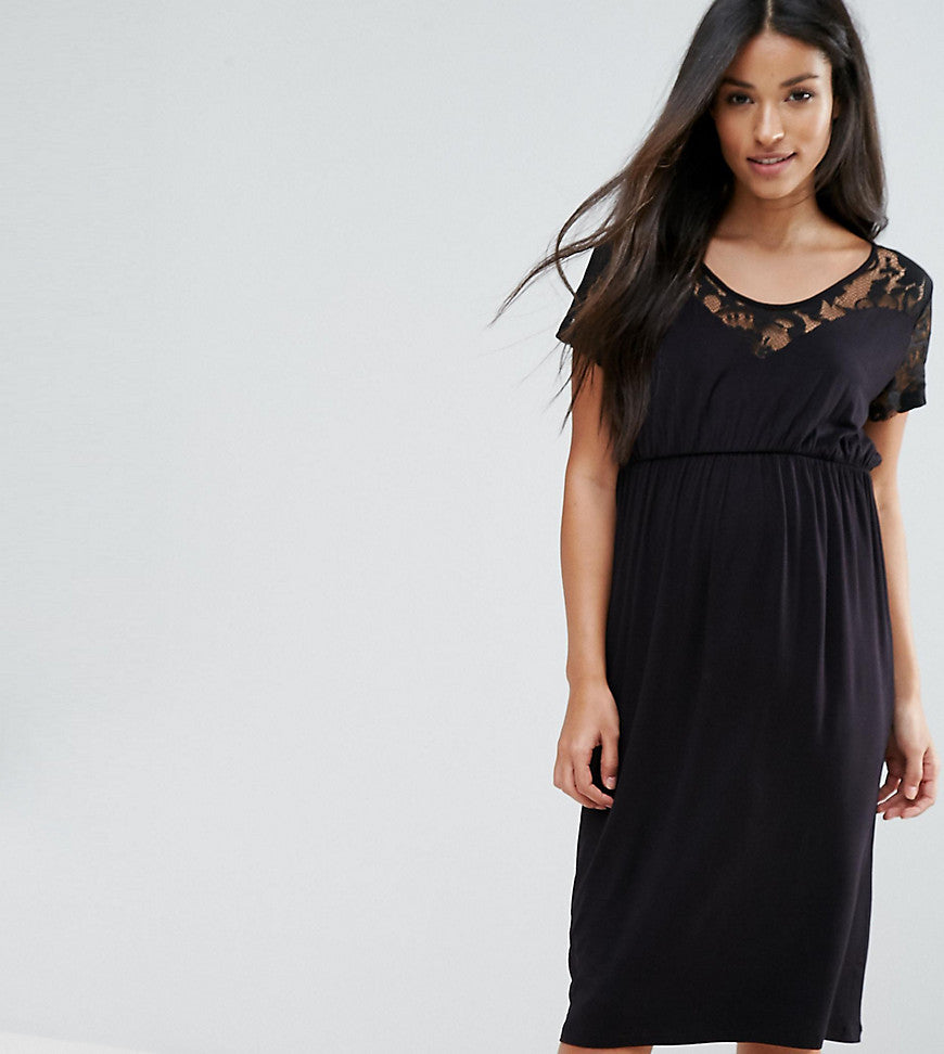 Mamalicious Dress With Lace Detail - Black