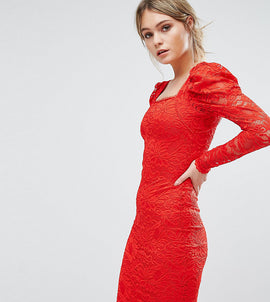 TFNC Lace Midi Dress - Red