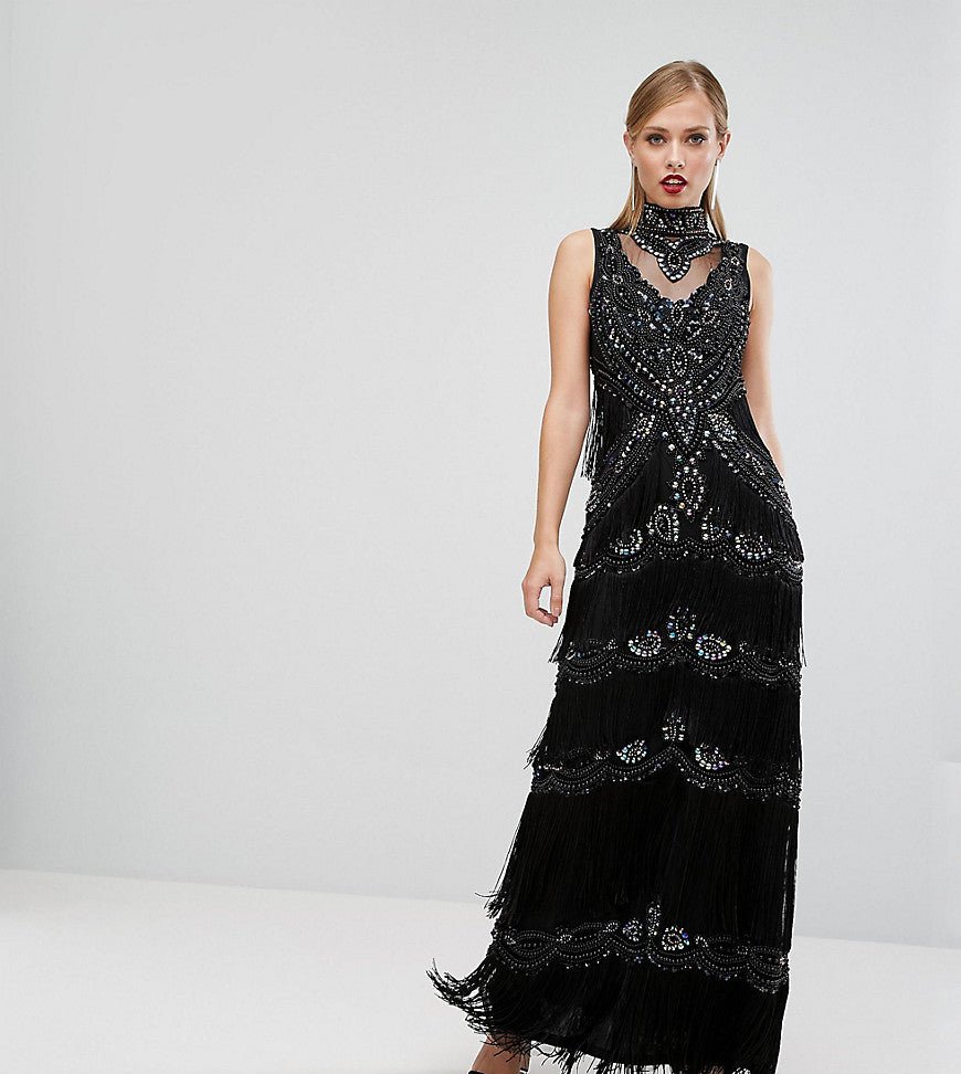 A Star Is Born Embellished Maxi Dress With Tiered Fringing And Cap Sleeve - Black