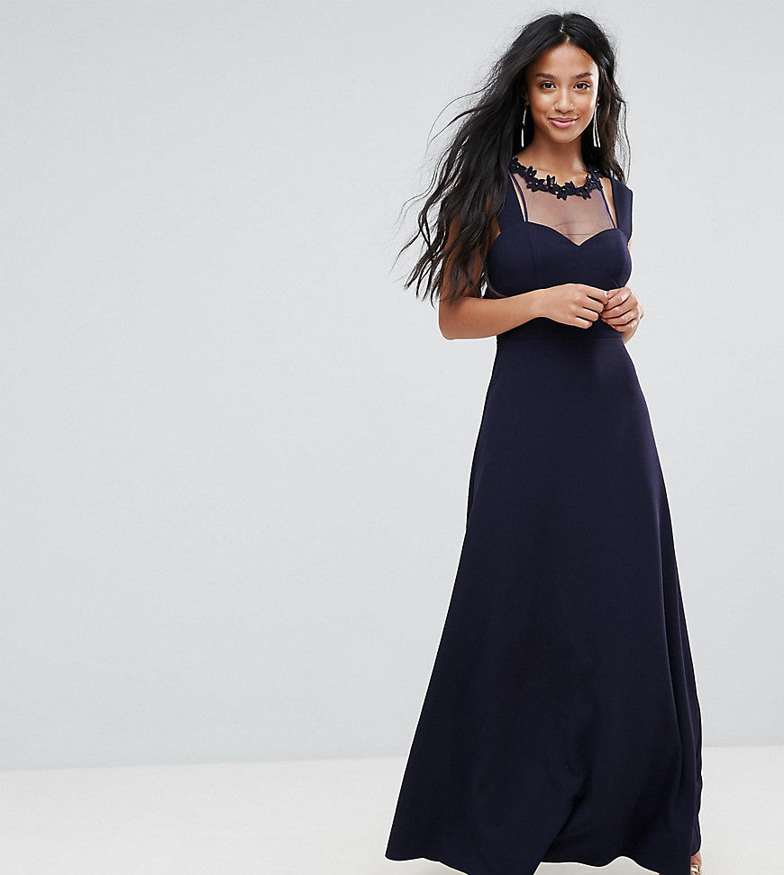Little Mistress Petite Cold Shoulder Maxi Dress With Lace Applique Neck Detail - Navy